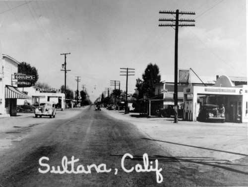 Downtown Sultana, Calif., early 1940s