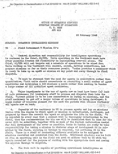 William J. Casey memo regarding strategic intelligence missions