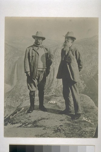 John Muir with Theodore Roosevelt, Glacier Point