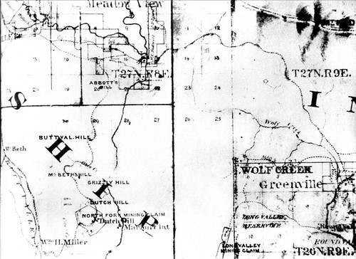 Map of Plumas County--1866 (From thesis by Kurtz--A History of Indian Valley)