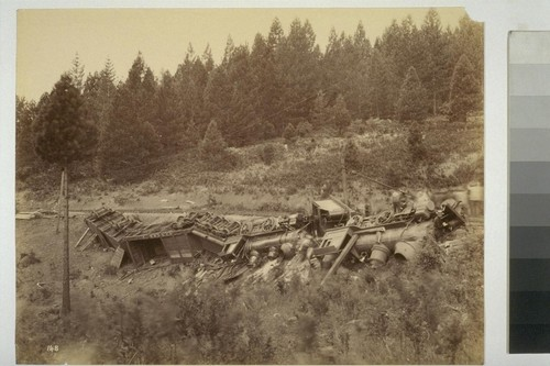 148. [Train wreck. Nevada County Narrow Guage Railroad. Unidentified location.]