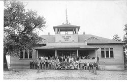 Students gathered on the steps of Oak Grove School, Graton, California, about 1909