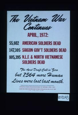 The Vietnam War continues. April: 1972: 55,802 American soldiers dead. 147,305 Saigon gov't. soldiers dead. 805,395 N.L.F. & North Vietnamese solddiers dead