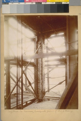 Ferry Tower, San Francisco, Earthquake failure of steel X [cross] bracing