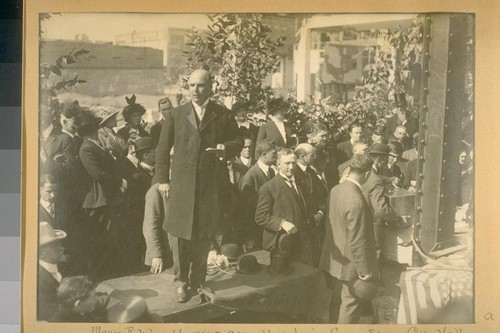 Mayor Rolph addressing assemblage laying corner stone, City Hall. Oct. 25, 1913
