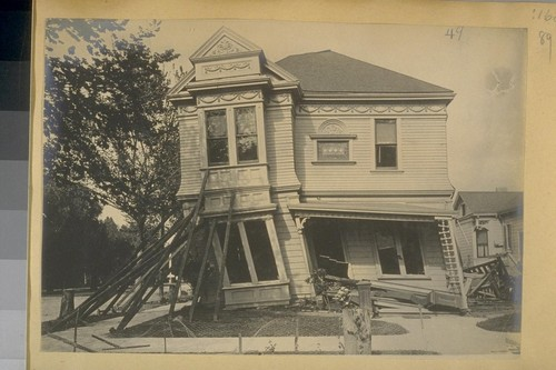 [Earthquake damage to wood frame buildings: unidentified residence.]