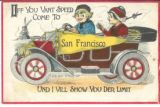 Greeting card with picture of little boy and girl in Dutch costume riding in, circa 1913 car with flag, postmarked October 31, 1913