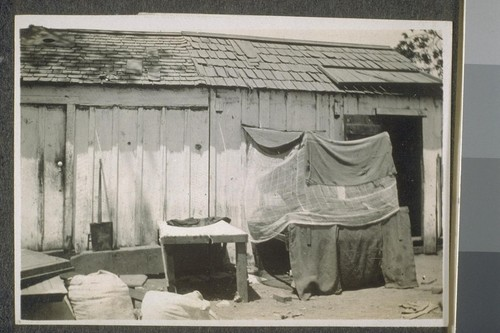 Hindu bed. [Makeshift shelter for Indian farm laborer.]