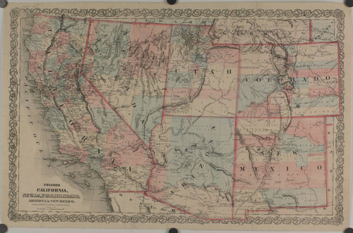 Calisphere Coltons Map of California Nevada Utah Colorado