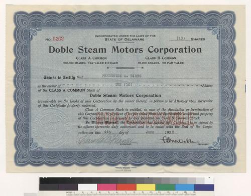 doble steam motors corporation stock certificate