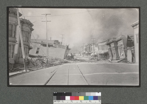 [Looking north along Valencia Street, with sunken Valencia St. Hotel left center.]