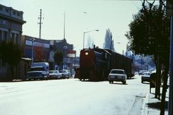 Southern Pacific train down main in the 100 block of South Main Street, Sebastopol, California, 1971