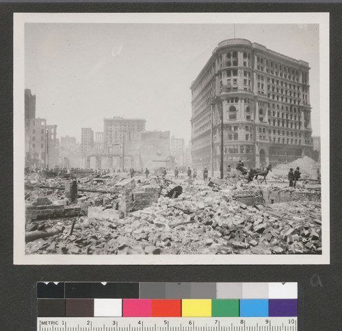 [Rubble near Fifth and Market Sts. Flood Building, right.]