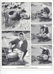 Pomo basket maker Essie Parrish working with acorn mush--a traditional meal of the Pomo