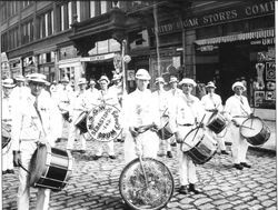Sebastopol Native Sons of Golden West Drum Corps marching band in San Francisco 1915 at the Panama Pacific International Exposition