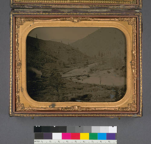 [Mine on Bogus Creek] (Detail - right, or bottom image: Distant view of creek)