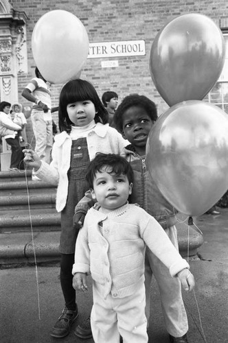 Balloon release at Ritter school, Los Angeles, 1983