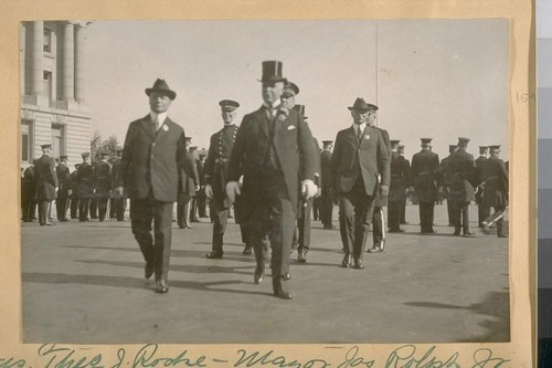 Pres. Theo. J. Roche, Mayor Jas. Rolph, Jr., Commissioner Jesse B. Cook in uniform, Capt. H. Gleeson, Chief D.J. O'Brien, and Capt. Lemon. Oct. 1922