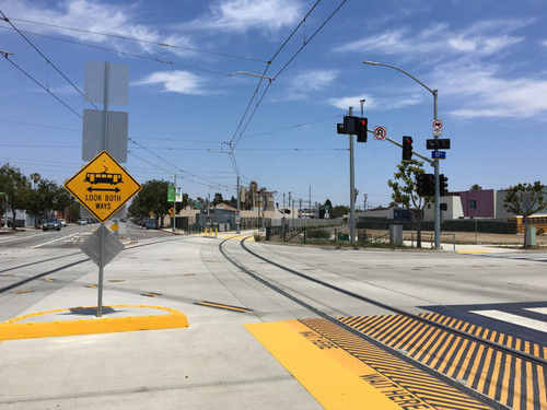 Expo Line train tracks at 17th St/SMC station, June 6, 2016