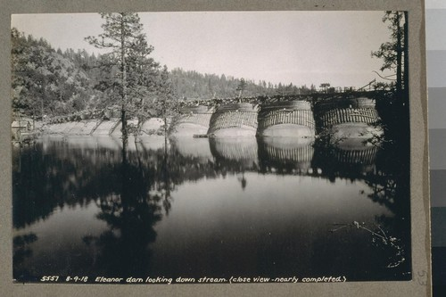 Eleanor Dam looking down stream (close view -nearly completed) 8-9-18 [August 9, 1918]