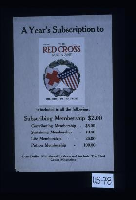 A year's subscription to the Red Cross Magazine isincluded in all the following