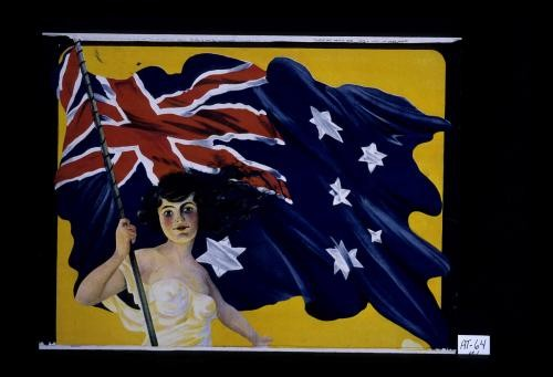 Poster of woman carrying Australian flag (top)