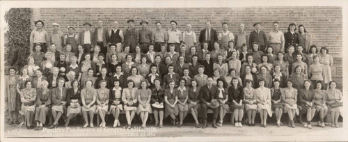 Group photograph of the Petaluma Poultry Producers of Central California workers, 323 East Washington Street, Petaluma, California, October 23, 1942