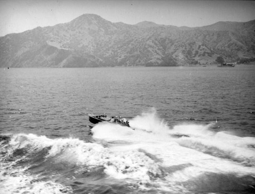 Speedboat and Catalina Island