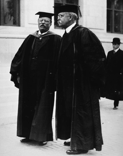Theodore Roosevelt with Bejamin Ide Wheeler [picture] : commencement address at Berkeley in May 1903