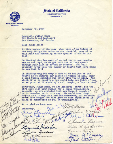 Thank you letter to Judge Julian Beck, 1959 (page 1)