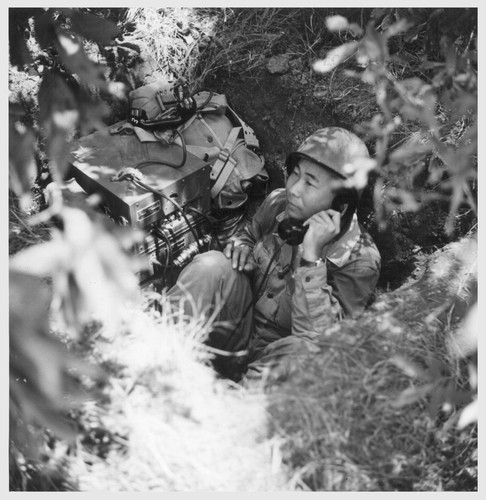 A telephone switch board and operator is here shown deeply dug in during maneuvers of the 552nd field artillery. The