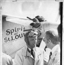 Verne Jobst, pilot and president of the International Aerobatics Club of America, is welcomed to the Capital City. He is standing in front of a duplicate of the Spirit of St. Louis