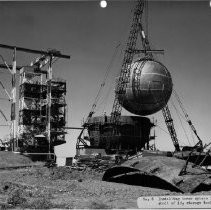 Alpha test stand. No. 6. Installing inner sphere into outer shell of LH2 storage tanks for T.S. 2
