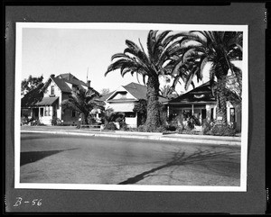 Exterior view of three houses on Adams Boulevard between Naomi Avenue and Hooper Avenue, December 11, 1932