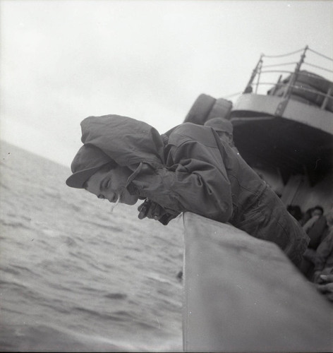 Soldier getting seasick on the USS Meigs