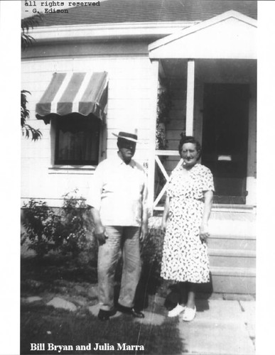 Bill Bryan and Julia Marra standing in front of their house at 420 Fair Street, Petaluma, California, about 1945