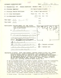Systematic observation sheet 125, 1967