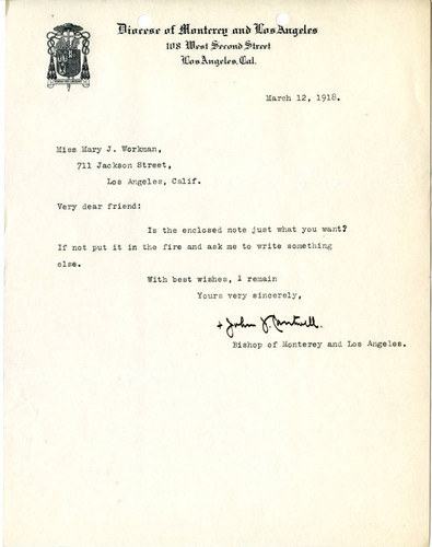 [Bishop John J. Cantwell letter to Mary J. Workman, 1918 March 12]