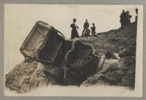Photo from the Von Dorsten family album. Overturned car in accident, c.1906