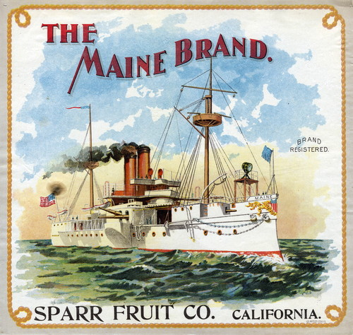 "Crate label, ""The Maine Brand."" Sparr Fruit Co., California"