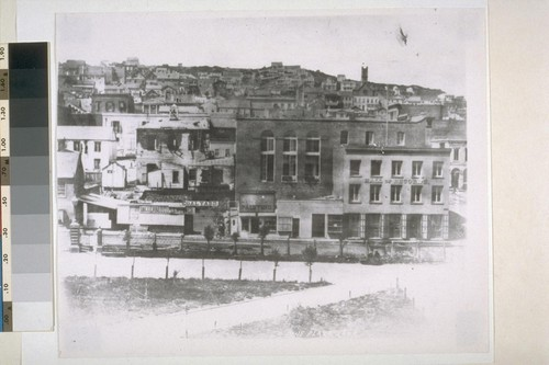 Western boundary of Portsmouth Plaza, looking toward Nob Hill. Ca. 1858
