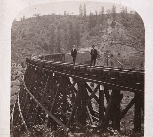 1233. The Trestle Bridge at Long Ravine, 878 feet long, and 120 feet high, Central Pacific Railroad