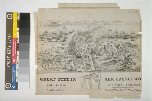 Great Fire In San Francisco June 14th 1850. 500 Buildings Burned Loss $5,000,000