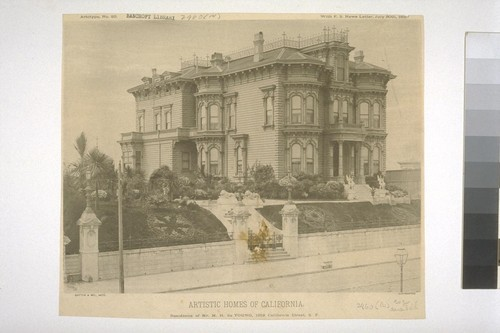 "Residence of Mr. M. H. de Young, 1919 California Street, S. F., Artotype No. 20, with ""S. F. News Letter,"" July 30th, 1887"