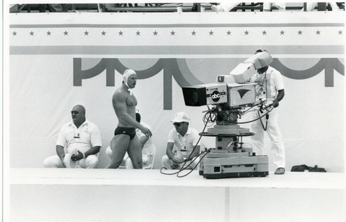 Television crew at Olympic water polo event, 1984