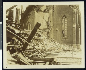 Exterior view of the First Presbyterian Church after the 1906 earthquake in San Jose, April, 1906