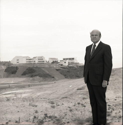 Chancellor M. Norvel Young posing on the Newly Built Malibu Campus