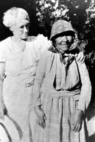 Mrs John A Bean and Indian Nellie at Strawberry Valley--ca 1920