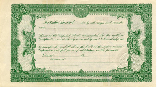 Glendale Merchants Association stock certificate, 1934 (back)