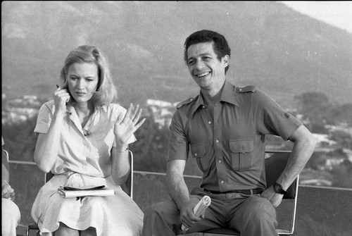 Roberto D'Aubuisson and Diane Sawyer during an interview, San Salvador, 1982